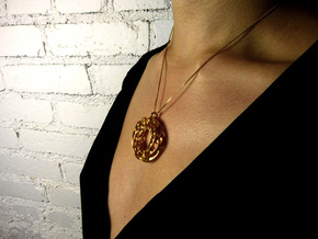 Twisted Scherk Linked 3,4 Torus Knots Pendant in 18k Gold Plated Brass