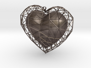 Heart in jail in Polished Bronzed Silver Steel