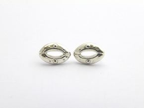 Stomata Earrings in Polished Silver