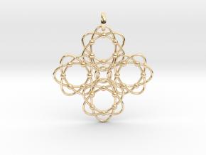 Pendant  Holy Cross Einstein in 14k Gold Plated Brass