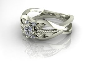 Flower ring, split shank. NO STONES SUPPLIED in Premium Silver