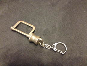 Jig Saw Key Chain in Polished Bronzed Silver Steel
