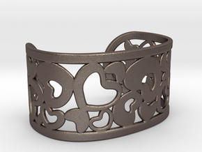 Fine Heart Cuff in Polished Bronzed Silver Steel