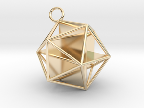 Golden Icosahedron Pendant in 14k Gold Plated Brass