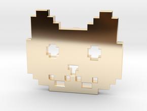 Retro Pixel Cat Pendant in 14k Gold Plated Brass