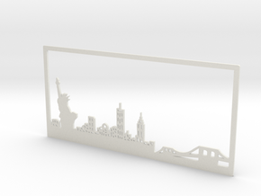 New York Skyline - 4.125 X 8.625 (M) in White Strong & Flexible