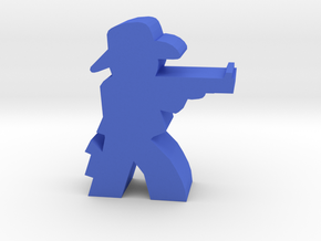 Game Piece, Cowboy, Aiming Rifle in Blue Processed Versatile Plastic