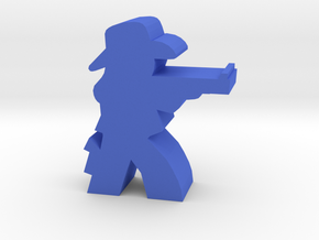 Game Piece, Cowgirl, Aiming Rifle in Blue Processed Versatile Plastic