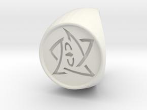 Elder Sign Ring Size 9 in White Natural Versatile Plastic