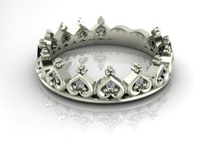 Sizeable Crown Ring no stones in Fine Detail Polished Silver