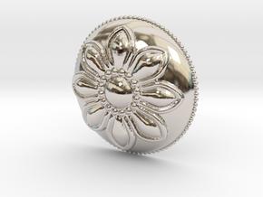 Margarita Flower Pendant in Rhodium Plated Brass