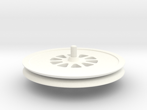 Deep-thin-groove-wheel in White Processed Versatile Plastic