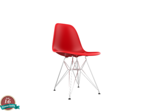 Miniature Eames Plastic DSR Chair - Charles Eames in White Natural Versatile Plastic