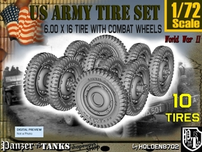 1-72 Military 600x16 Tire Set2 in Smooth Fine Detail Plastic