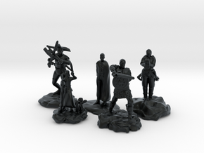 Cleric, Fighter, Rogue, Ranger, and Sorcerer in Black Hi-Def Acrylate