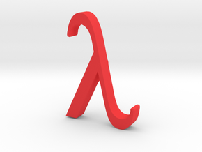 Greek Jewelry - Lambda Pendant in Red Processed Versatile Plastic