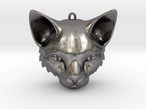 Feline Huntress Pendant in Polished Nickel Steel