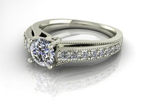 Detailed Solitaire 2 NO STONES SUPPLIED in Fine Detail Polished Silver
