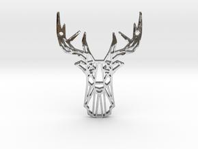 Deer Pendant in Fine Detail Polished Silver