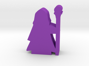 Game Piece, Wizard in Hooded Robe, Staff in Purple Processed Versatile Plastic