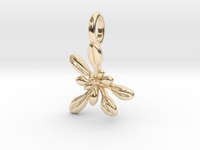 Small Arabidopsis Rosette Pendant in 14k Gold Plated Brass