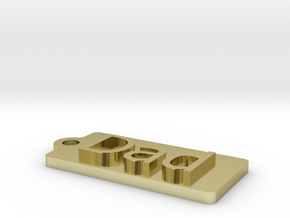 Name Tag Dad  Key chain Fob Zipper  Tag 50x25x5mm in 18k Gold