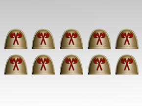 Crossed Axes V.7 Shoulder Pads x10 in Frosted Extreme Detail