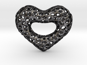 Netted Heart in Polished Grey Steel