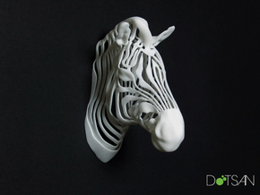 3D Printed Wired Life Zebra Trophy Head in White Strong & Flexible