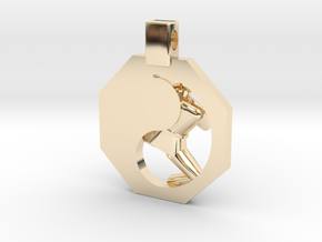 Pendant - Mens Yeop Chagi (s) in 14k Gold Plated Brass