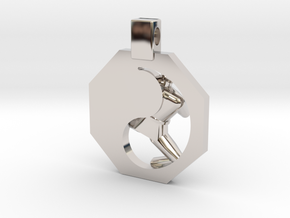 Pendant - Mens Yeop Chagi (s) in Rhodium Plated Brass
