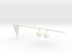 Flag And Balls - WHITE in White Processed Versatile Plastic