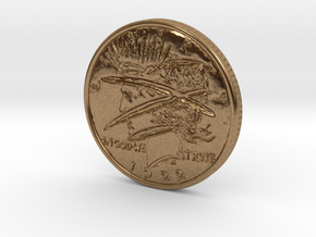 Two Faced Silver Dollar with scars - Smooth in Natural Brass
