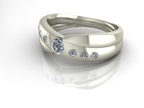 Classic Solitaire 3 NO STONES SUPPLIED in Fine Detail Polished Silver
