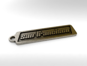 San Francisco, California Keychain in Polished Bronze Steel