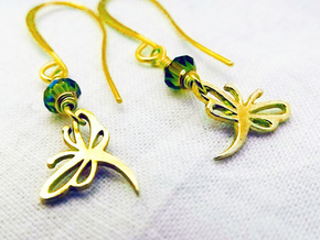 Buzzing Dragonfly™  Earrings in Polished Brass