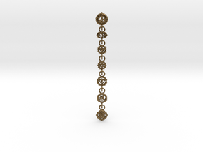 7 Chackras Buddist Pendant (Interlocking, 7,5 cm) in Natural Bronze (Interlocking Parts)
