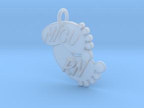NICU RN Foot Print Keychain in Smooth Fine Detail Plastic