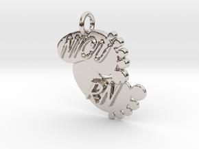 NICU RN Foot Print Keychain in Rhodium Plated Brass