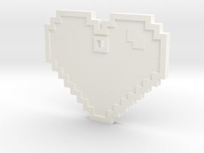 Pixel Art Heart Pendant in White Processed Versatile Plastic