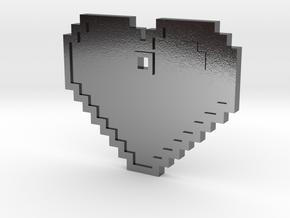 Pixel Art Heart Pendant in Polished Silver