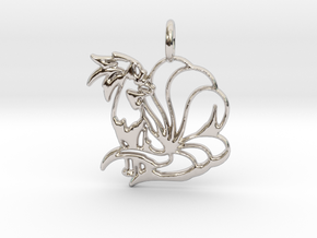 Ninetales Pendant in Rhodium Plated Brass
