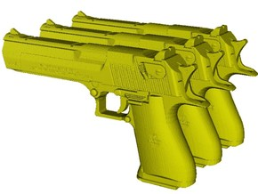 1/12 scale IMI Desert Eagle 50 Mk XIX pistols x 3 in Smooth Fine Detail Plastic