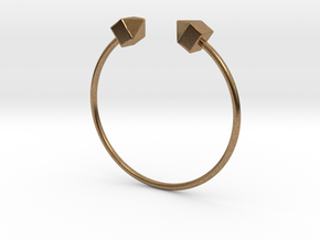 2 Houses Bracelet Medium Size D=65mm in Natural Brass: Medium