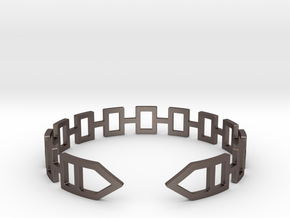 2D Houses  Bracelet Medium Size D=65mm in Polished Bronzed Silver Steel: Medium