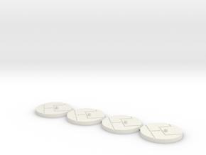 "1"" Titan Scale Bases (4)  in White Natural Versatile Plastic"