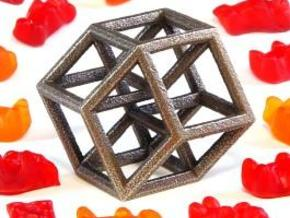 Hypercube B in Polished Bronze Steel