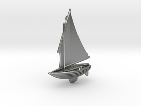 Small Old Sailing Boat Pendant 2 in Natural Silver