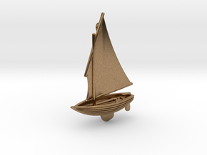 Small Old Sailing Boat Pendant 2 in Natural Brass