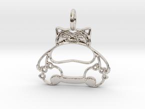 Snorlax Pendant in Rhodium Plated Brass